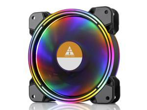 Vicabo RGB LED Case Fans PC Cooling 120mm Quiet Edition High Airflow Colorful PC Case CPU Computer Silent Cooler, Radiators System Components (1pc)