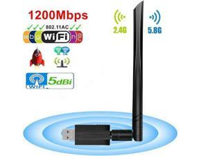 USB Wifi Adapter - USB 3.0 Wireless 1200Mbps Dual Band 2.4GHz 5.8GHz Wireless Lan Network Card Dongle with High Gain 5dBi Antenna For Desktop Laptop PC, Windows XP Vista 7 8 8.1 10, Mac, Linux