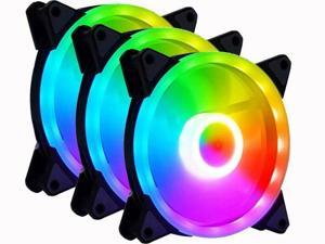 Vicabo RGB Lighting LED 120mm 3 Packs Case Fans PC Cooling Ultra Quiet Fan, 12V 4Pin/3Pin, Absorbing Rubber Pads, for Computer Case CPU Air Cooler & Liquid Radiator System Components (3pcs)