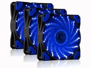 Vicabo Kit 3 Packs 120mm PC Cooling Computer Silent 15 LEDs Case Fan Heatsink Cooler Cooling w/ Anti-Vibration Rubber, 120mm Fan, 12VDC, Molex 4pin, Blue LED Lights (3pcs)