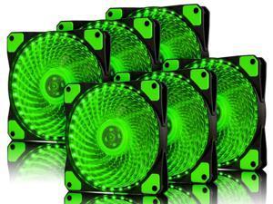 Vicabo 6 Packs 120mm PC Computer 16dB Ultra Silent 33 LEDs Case Fan Heatsink Cooler Cooling w/ Anti-Vibration Rubber, 12CM Fan, 12VDC 3/4 pin, Green LED Lights (6pcs)