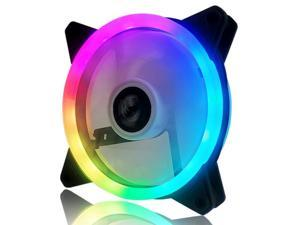 Vicabo 1-Pack Case Fan Silent Dual Light Loop RGB LED 120mm High Performance Adjustable Colorful Light PC Computer Case Cooling Cooler (Single Fan)