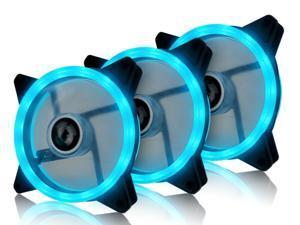 Vicabo 3 Packs 120mm PC Cooling Silent 15 LEDs Case Fans Computer Cooler Cooling, 120mm Quiet Dual Light Loop LED Fan, 3/4 pin, Ice Blue LED Lighting (3pcs)