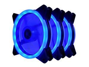 Vicabo 3 Packs 120mm PC Cooling Silent 15 LEDs Case Fans Computer Cooler Cooling, 120mm Quiet Dual Light Loop LED Fan, 3/4 pin, Blue LED Lighting (3pcs)