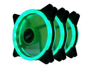 Vicabo 3 Packs 120mm PC Cooling Silent 15 LEDs Case Fans Computer Cooler Cooling, 120mm Quiet Dual Light Loop LED Fan, 3/4 pin, Green LED Lighting (3pcs)