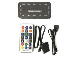 Vicabo Universal LED RGB Fan Controller PC Cooler Computer Case Cooling Fan Controller, with Remote Control