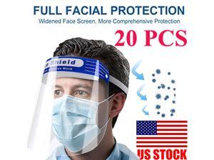 20PCS Safety Full Face Shield Protector Eyes And Face Full Clear Transparent Reusable Washable Protection Cover Face Cover Anti-Splash Anti-fog Windproof Dustproof Protective US Shipping