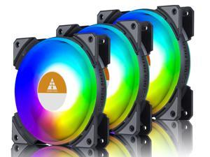 Vicabo 3 Packs RGB LED Case Fans PC Cooling 120mm Quiet Edition High Airflow Adjustable Colorful PC Case CPU Computer Cooling with Coolers, Radiators System Components (3pcs)