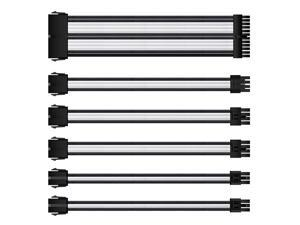 Vicabo QH-LU-025 11.81 in. Braided ATX Sleeved Cable Extension Power Supply Cable Kit PSU Connectors, 24 Pin ATX, 4+4 Pin EPS, 8-pin PCI-E, 6-pin PCI-E with Combs (Black & White)