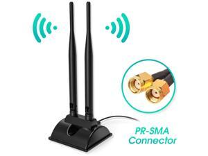 Dual Band WiFi Network Antenna 6dBi with RP-SMA Female Connector, AC 2.4GHz 5.8GHz Antennas with Magnetic Base Work with PCI-E Wi-Fi Network Card USB WiFi Adapter Wireless Router Extender IP Camera