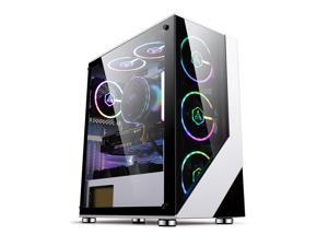Vicabo Alpha COC03 ATX Full Tower Gaming PC Computer Case with Tempered Glass Side Panel, Top Dust Filter, ATX/M-ATX/ITX/E-ATX Support, White Desktop Case