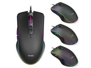 RGB Gaming Mouse, 6400 dpi, Ergonomic Hand Grips, RGB Backlit Optical Wired Gaming Mouse 7 Programmable Buttons