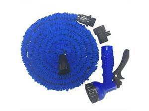 150FT Expandable Flexible Garden Hose Wash Pipe, Garden Nozzle, Comfort-Grip 7 Different Spray Patterns for Watering Lawns, Washing Cars & Pets (Blue)
