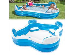 "Inflatable Family Kids Swimming Pool Fun Outdoor Garden Swim Centre Family Lounge Paddling Pool 90.15""*90.15""*25.98"""