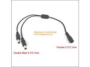 Copper Core 5.5*2.1 mm 12V Power DC Cable Splitter 1 Female to 2 Male for CCTV LCD Monitor Camera Camcorder