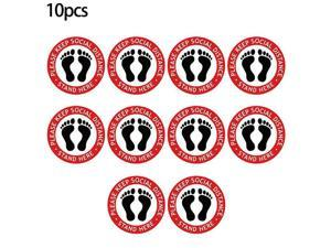 10PCS Social Distancing Floor Decals Stickers Social Distancing Sign Stand Here Floor Sticker Safety Signs for Crowd Control Guidance/ Grocery/Supermarket/School