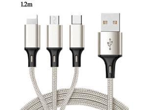 3 in 1 USB Charging Cable, 3.9ft/1.2m Multi Charger Cord Nylon Braided with 8-Pin Lightning/Type C/Micro USB Connector for iPhone/Samsung Galaxy/Hawei and More, Gold