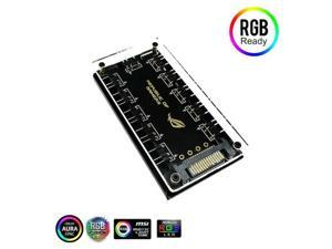 5V 3Pin RGB Hub Splitter 10-Port Hub with 50CM 3Pin Extension Cable, Perfect for Lots of RGB LED Strip Lighting, Fans, Cooler