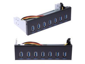 "7 Port USB 3.0 5.25"" Internal CD-ROM Bay Front Panel USB Hub, 7 x USB 3.0 to Motherboard USB 19 PIN Hub Splitter for Desktop"