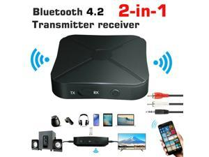 2 in 1 Bluetooth 5.0 Transmitter & Receiver Wireless Audio Adapter with 3.5mm Aux RCA Cable for TV Home Stereo Smartphone PC