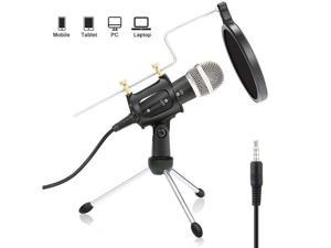 Recording Microphone 3.5mm Condenser Microphone Plug and Play, PC Microphone Suitable for Podcasting, Voice Recording, Skype, YouTube, Games, Laptop, Computer, Phone