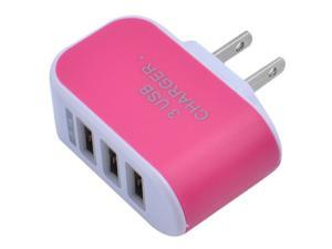 US Plug Wall Charger Station 3 Port USB Charge Charger Travel AC Power Chargers Adapter for iPhone Samsung Huawei Xiaomi LG HTC and More, Rose Red