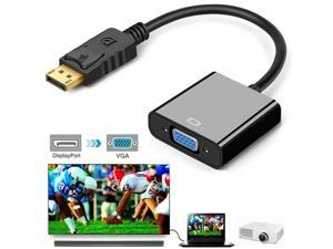 Display Port to VGA Adapter 1080P Converter Cable, DisplayPort DP Male to VGA Female Adapter Compatible for PC, Monitor, Projector, TV