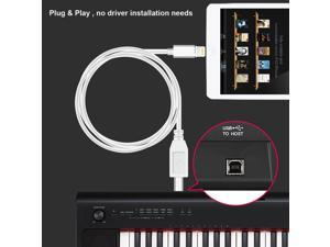 Lightning to MIDI Cable, USB 2.0 Cable Lightning to Type-B High Speed Cord for iPhone iPad MIDI Keyboard Organ Compatible with ios10.3.2 and above systems