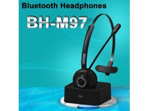 Bluetooth Office Headset with Noise Cancelling Micorphone Headset for Cell Phones Over Head Earphone for Trucker Driver/Skype/Call Center/PC with Charging Base Support 17h Talk Time Mute Function