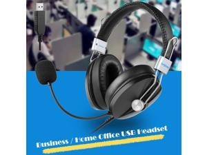 USB Headset with Adjustable Microphone Noise Cancelling Wired Headphone for PC Laptop Comfort-fit Office Computer Class Music Headphone Support Windows XP 7 8 8.1 10 / Windows NET Server 2003