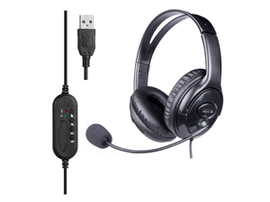 USB Wired Office Gaming Headset with Flexible Mic Supports Computers and Tablets for business Affairs Online Courses and Office Work With noise reduction function