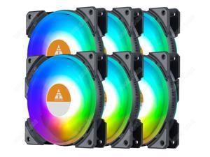 6 Pcs RGB LED Case Fans PC Cooling 120mm Quiet Edition High Airflow Colorful PC Case CPU Computer Cooling with Coolers, Radiators System Components, 4 Pin