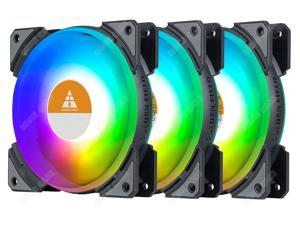 3 Pcs RGB 120mm Quiet Light Loop RGB LED Case Fan PC Cooling 3 Fans Pack, for Case CPU Computer Cooling Cooler Radiator PC Chassis, 4 Pin