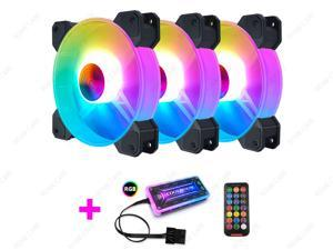 3 PCS RGB Case Fans PC Cooling 120mm With Remote Controller Fan Hub And Extension, Quiet Edition High Airflow Adjustable Colorful PC Case CPU Computer Cooling with Coolers, Radiators System