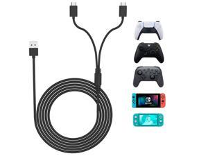 PS5 Xbox Series Controller Charging Cable, USB C Cable 15W 10ft, Type C 2.0 Fast Charging Cord 2 in 1 for Playstation 5, Xbox Series S/X, Nintendo Switch Lite Console & Pro Controller, Smartphone