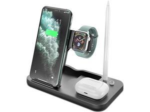 4 in 1 Wireless Charger Station, Rome Care 2020 Upgraded Qi-Certified Fast Charging Stand Compatible with Airpods/Airpods Pro/Apple Pencil/Apple Watch/iPhone12/11/11pro/X/XS/8/Samsung/Huawei-Black