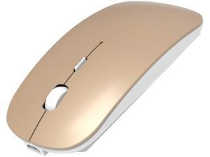 2.4GHz Wireless Bluetooth Mouse, 3 Adjustable DPI, Dual Mode Slim Rechargeable Wireless Mouse Silent USB Mice,Compatible for Laptop Windows Mac Android MAC PC Computer (Gold)
