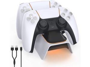 Rome Care Upgraded PS5 Controller Charger, Playstation 5 Charging Station with LED Indicator, High Speed, Fast Charging Dock for Sony DualSense Controller, White