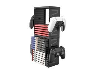 ROME CARE Multifunctional Game Disk Storage Tower Holder for PS5,Game Disk Rack and Controller Compatible with Xbox Series X/Nintendo Switch/PS4-White