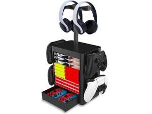 ROME CARE Headset and Game Organizer (up to 10 Games) for PS5 PS4 Playstation/Xbox Series S & X/Switch Accessories, Headphones, Game Discs, Joy Cons, DualSense, Controllers, Black