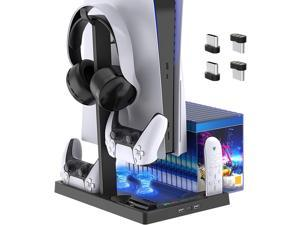 ROME CARE Vertical Stand with Headset Holder and Cooling Fan Base for PS5 Console/Digital Edition, 2 Controller Chargers, 15 Game Disc Slots, 3 USB Hubs and 1 Media Remote Storage