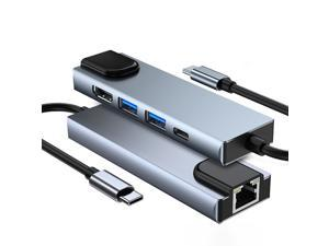 USB C Hub 5-in-1 Type-C Hub with Ethernet, USB-C Multiport Adapter with HDMI, Ethernet Input, 2USB 3.0 Ports, USB C PD Charging for MacBook Pro 2019, iPad Pro2020, XPS15, Pixelbook