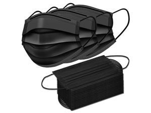 ROME CARE Disposable Face Masks, 3 Ply Disposable Face Mask for Men & Women 100 Pcs Black