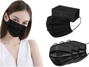 100 Pcs Disposable Protection Face Masks, 3 Ply Face Masks Black Disposable Mask Adult