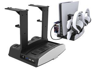 ROME CARE For PS5 Stand with Suction Cooling Fan and Dual Controller Charger Station for Playstation 5 Console, Suction Cooler Fan with Charging Dock Station and Games Storage - Headset Holder Include