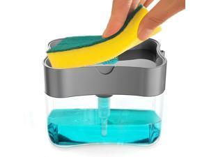 Soap Dispenser, Soap Dispenser Sponge Holder 2 in1, Countertop soap Dispenser, Soap Pump Dispenser with Sponge, 13 Ounces (Sliver)