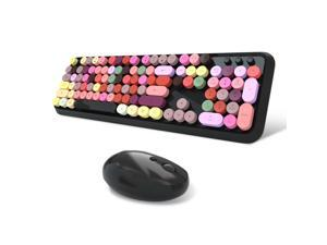 Wireless Keyboard and Mouse Combo, 2.4G Cute Round Mute Keyboard Mouse Set for Laptop, Computer, Mac (Mixed Color)