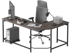 Office Desk L Shaped Corner Desk 66 Inch Gaming Computer Desk Large Writing Table Modern Gaming Workstation for Home Office Study,Wood & Metal (Black Oak)