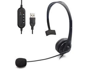 USB Unilateral Headset, Wired USB Headphone With Microphone Noise Reduction And Audio Control For PC Computer Business Communication Online Chat UC Skype Lync Softphone Call Center Office Gaming-Black