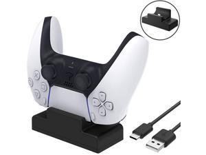 PS5 Single Controller Charger, Fast Charging USB Type C Docking Station Stand with LED Indicator Lights for Sony Playstation 5 Dualsense Controller (Black)